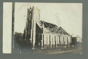 West Point NEBRASKA RP 1909 TORNADO RUINS Church MISSING ROOF nr Oakland CYCLONE