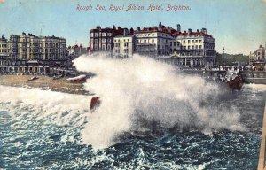 Brighton Rough Sea Royal Albion Hotel Postcard
