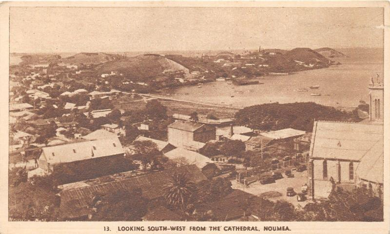 Noumea New Caledonia Bird's Eye View from Cathedral~c1920s Postcard