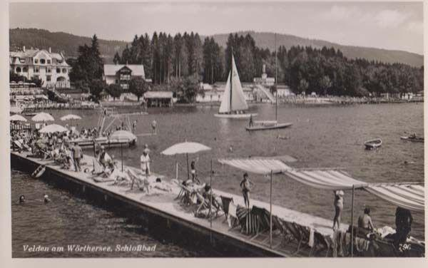 Worthersee Schlobbad Sunbathing Sailing Austria Austrian Real Photo Postcard