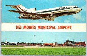 Iowa Postcard DES MOINES MUNICIPAL AIRPORT w/ United Air Lines Plane c1960s