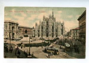 246961 ITALY MILANO Piazza del Duomo TRAMS Vintage postcard