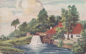 Art Hungarian vintage postcard Water Mill Landscape Landschaft