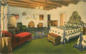La Fonda Hotel roadside Interior Santa Fe New Mexico Teich 1940s Postcard 3537