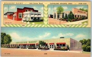 Cleveland Heights, Ohio Postcard HILLSIDE DAIRY 1418 Center Road 3 Views Linen