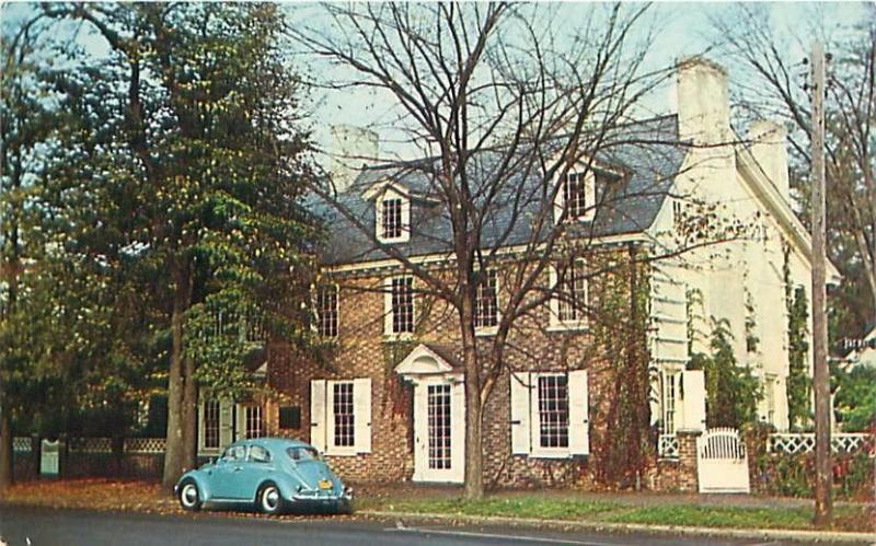 DOVER DELAWARE RIDGLEY HOUSE ON THE GREEN POSTCARD c1960s VOLKSWAGEN BUG
