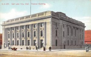 Salt Lake City Utah~Low-to-the-Ground Early c1910 Auto~Post Office~Federal Bldg