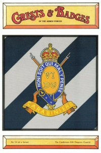 Postcard Armed Forces The Carabiniers 6th Dragoon Gds Crest Badge No.14 NEW BL14