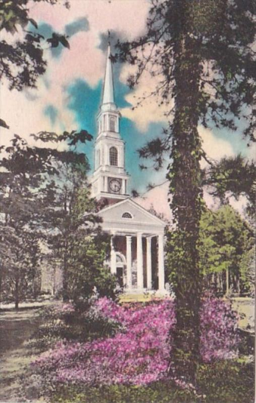 North Carolina Pinehurst The Village Chapel 1941 Handcolored Albertype