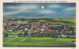 Tennessee BIrds Eye View Of Sevierville At Night With Great Smoky Mountains I...