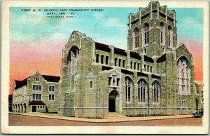 1937 Gary, Indiana Postcard First M.E. Church and Community House Kropp Linen
