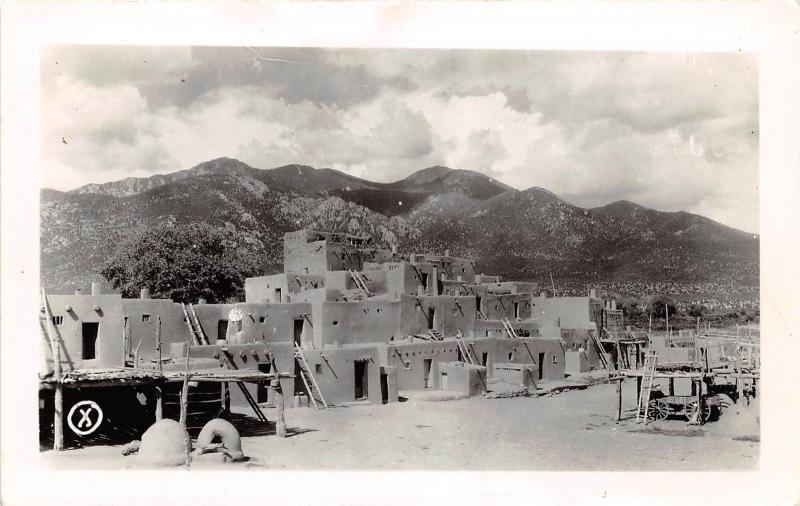 D42 Taos New Mexico Nm Rppc Postcard C40s Native American Pueblo
