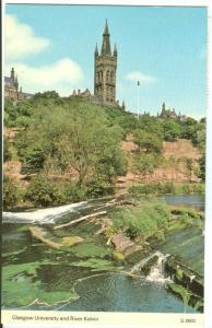 UK, Glasgow University and River Kelvin, used Postcard