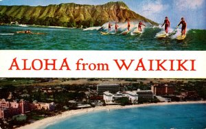 Hawaii Aloha From Waikiki Showing Beach Hotels and Surfers
