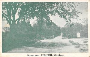 Pompeii Michigan~Billboard Along Dirt Road~1920s B&W Postcard