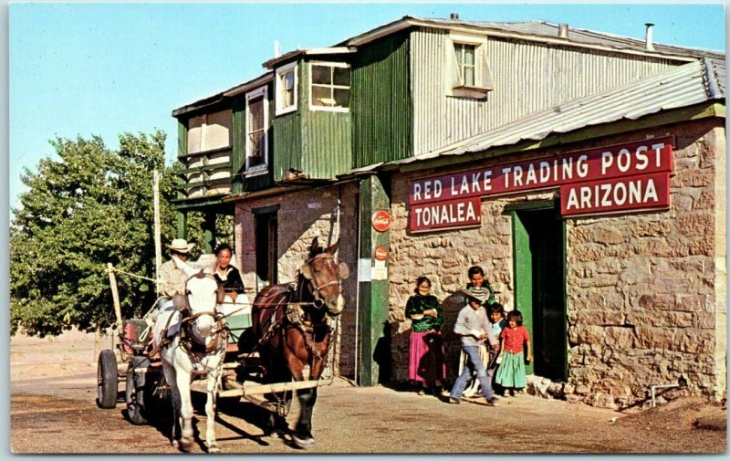 Tonalea, Arizona Postcard RED LAKE TRADING POST Navajo Trail Highway c1960s