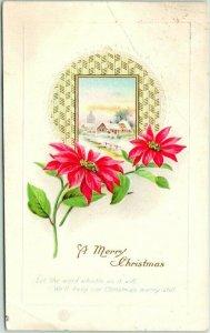 Stecher MERRY CHRISTMAS Greetings Postcard Church Scene / Poinsettia Flowers