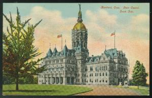CT Hartford State Capitol South Side Vintage Hugh C Leighton Postcard