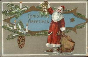 Christmas - Santa Claus w/ Lantern EBC c1910 Postcard