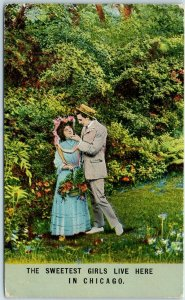 1911 Chicago IL Greetings / Romance Postcard THE SWEETEST GIRLS LIVE HERE