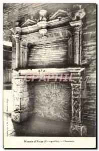 Old Postcard Manoir D & # 39Ango Varengeville Fireplace