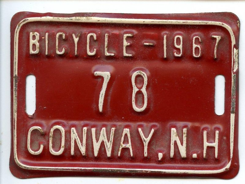 License Plate for Bicycle - Conway, NH, 1967