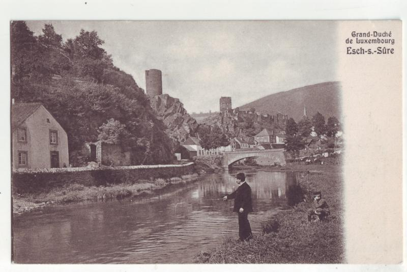 P1141 old postcard fishing grand-duche de luxembourg esch-s-sure