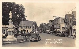 Wilton ME Main Street Soldiers Monument Storefronts Old Cars RPPC