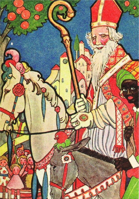 Black Pete Christmas History.St Nicholas On Horseback Zwarte Piet By Rie Cramer Modern