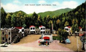 Gatlinburg Tennessee~Park Tourist Court~Gas Service Station~Pumps~1940 Car~Linen