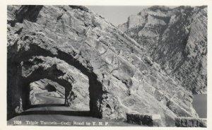 RP: Cody Road to Y.N.P. , Wyoming, 1930-40s ; Triple Tunnels