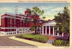 SCHOOL OF MEDICINE AND DENTIRSTRY PHARMACY HOSPITAL UNIVERSITY OF MARYLAND 1937
