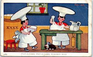 Vintage LITTLE BAKERS Nursery Rhyme Postcard Pat-a-Cake Baker's Man 1911 Cancel