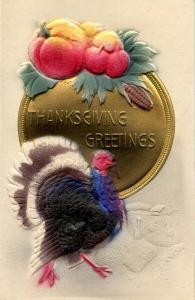Greeting - Thanksgiving, Turkey. Heavily Embossed