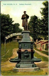 THE WEIRS NH Postcard Soldiers Monument Statue Fountain TUCK'S / 1909 Cancel