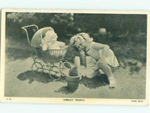 1930's Shirley Temple Original Postcard WITH DOLL IN STROLLER AC6354