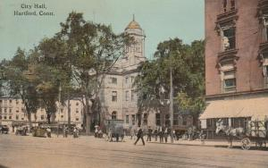 Street Traffic City Hall Hartford CT Connecticut - DB - 1912 RPO - BOS.PROV & NY