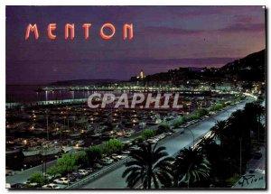 Modern Postcard The French Riviera Menton general view unforgettable night