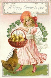 Easter~Hen Watches Chicks Get A Ride~Girl In Pink Smiles~Clover~Emb~Tuck~1910