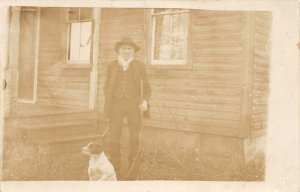G65/ Interesting  RPPC Postcard c1910 Man Beard Pet Dog Home 4