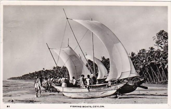 Sri Lanka Ceylon Native Fishing Boats 1961 Real Photo