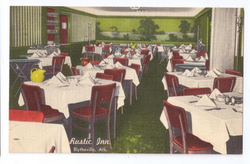 Rustic Inn Blytheville AR Restaurant Vintage Linen Postcard