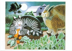 Cat Eating Carrots Angry Rabbit Full Moon Farm Barn by Kliban Cartoon Postcard