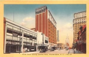 Winston Salem North Carolina~Fourth Street~Carolina Hotel~Theatre~1940s Linen