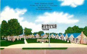 1950s Route 66 Rock Fountain Court Springfield Missouri Postcard MWM 5954