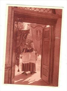 Choir boys at entrance to church holding banners, 20-40s Tyrolia-Tiefdruck