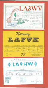 QSL AMATEUR RADIO CARDS – NORWAY – 3 DIFFERENT CARDS – 1981-1992 (3)