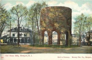 Newport RI Homes Around the Old Stone Mill c1908 Postcard