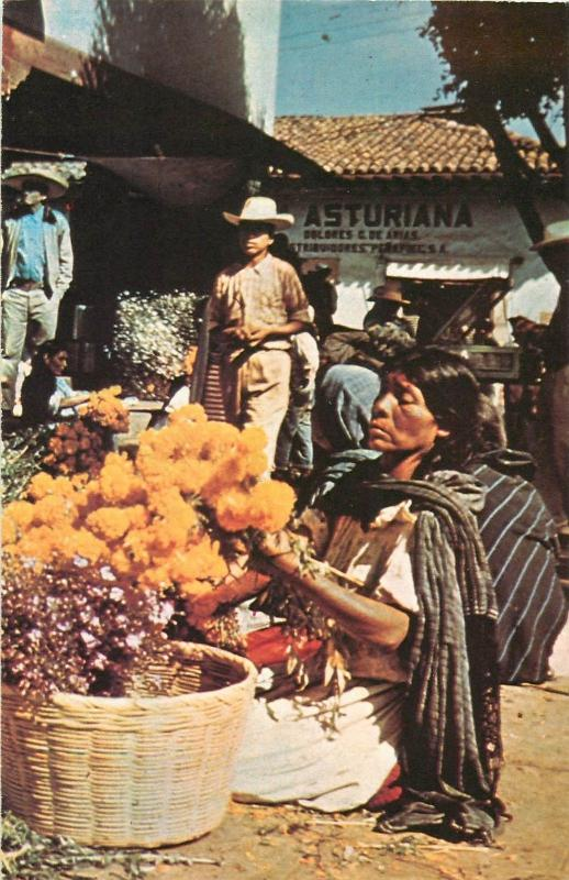 Mexican market scene flowers seller