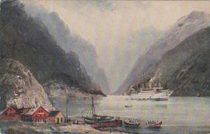 Norway Norofjord With Steamship